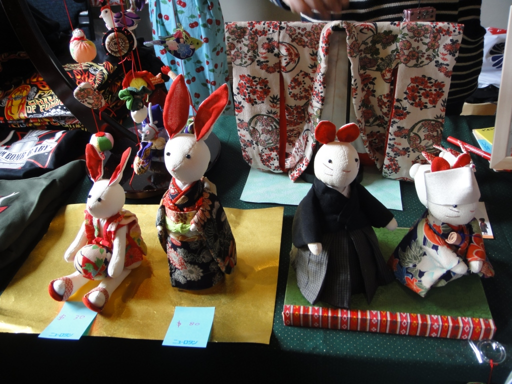 Japanese bunny dolls/plushies on display. Adorable. Photo by Sue Chen.