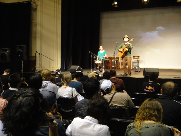 The JCAF 2012. Acoustic Japanese music performance by Shigeo Furukawa and Claire Jackson on stage. Photo by Sue Chen.