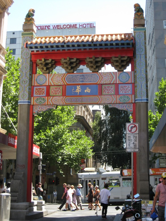 The back of the front entrance of Melbourne's Chinatown. The arches embody traditional Chineseness, but also stereotypical notions. Photo by Mabel Kwong.