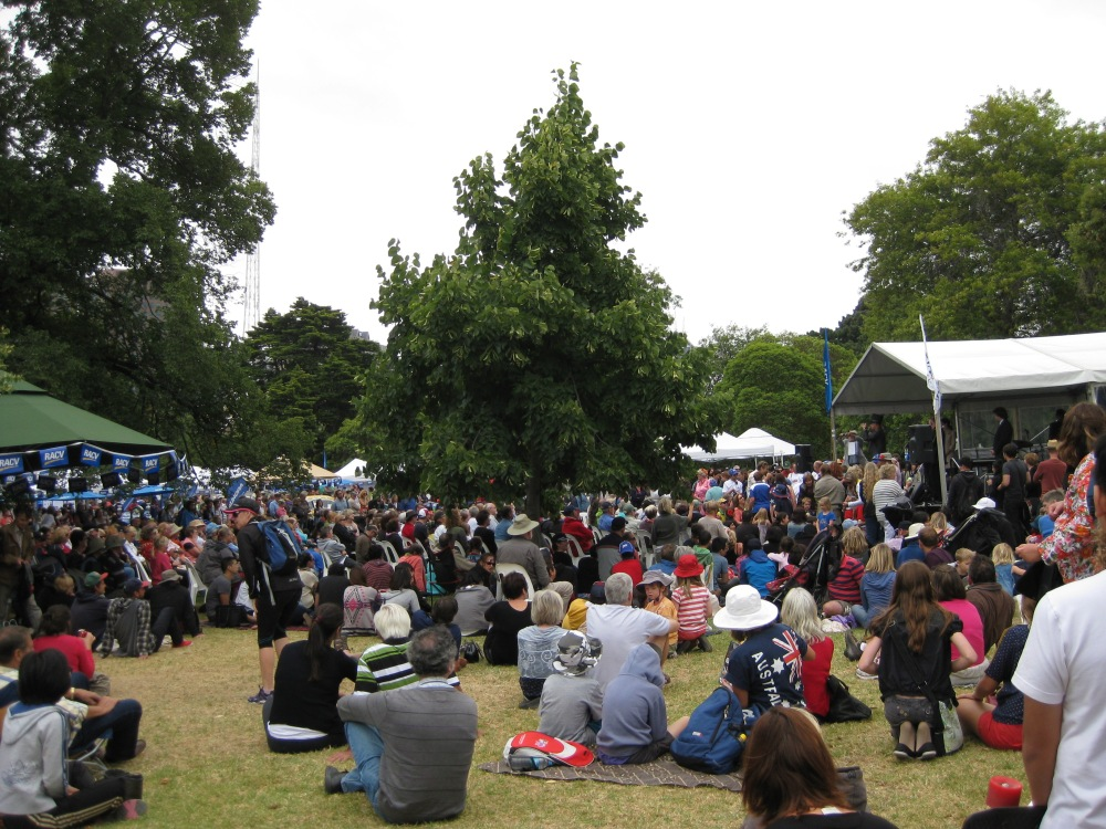 Australians of all backgrounds enjoying Australia Day festivities at Kings Domain. Being Aussie is about giving everyone a fair go and respecting everyone's differences. Photo by Mabel Kwong.