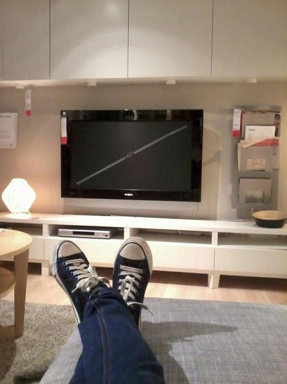 Me wearing shoes at home...at a mock home setting in IKEA. Photo: Mabel Kwong