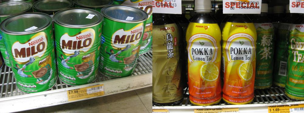 Tins of Milo (left) and bottles of Pokka ice lemon tea (right). Photo: Mabel Kwong