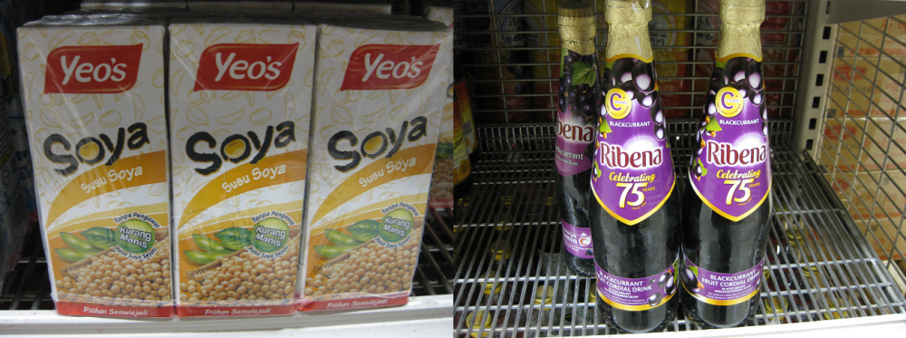 Yeo's soya bean milk (right) and bottles of Ribena (right). Photo: Mabel Kwong