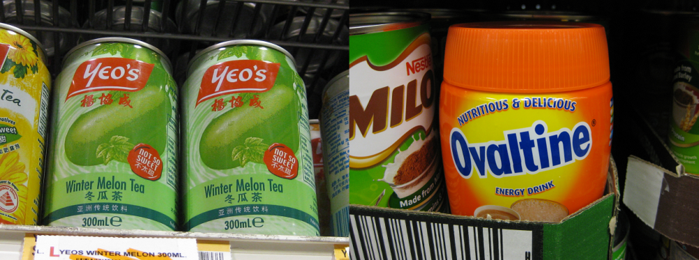 Yeo's winter melon (left) and Ovaltine sharing the spotlight with Milo (right). Photo: Mabel Kwong