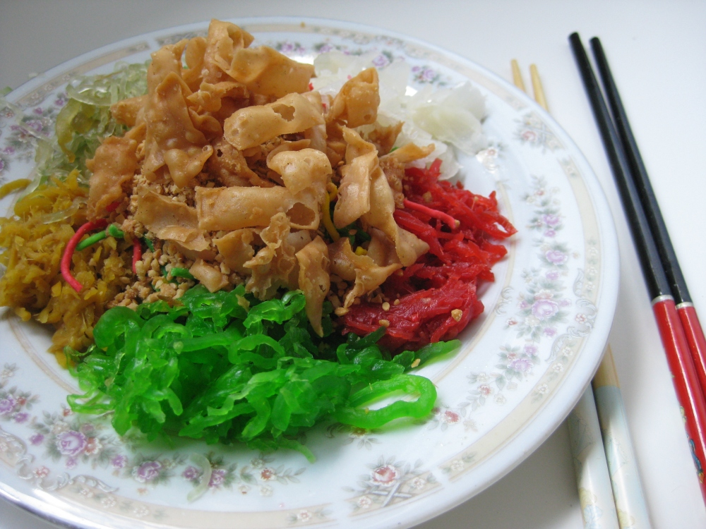 Eating Yusheng during the Lunar New Year is a family affair | Weekly Photo Challenge: Family. Photo: Mabel Kwong