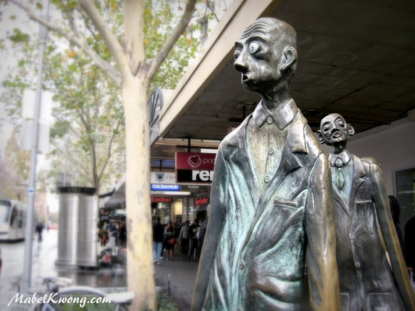 Two of the Three Businessmen: Batman, Swanston and Hoddle, looking a bit stressed | Weekly Photo Challenge: Relic.