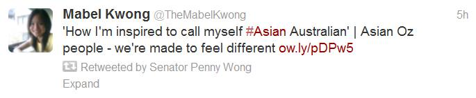Senator Penny Wong retweeted my article on being Asian Australian.