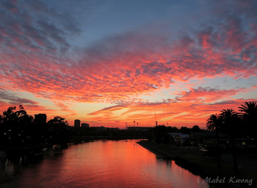 New dawn, new stories. Vivid sunrises know no seasons. Yarra River | Weekly Photo Challenge: Off-Season. Vivid.