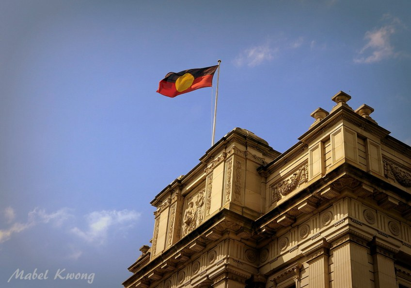 A flag we raise should be a flag we believe in. Aboriginal flag flying high in the city of Melbourne.